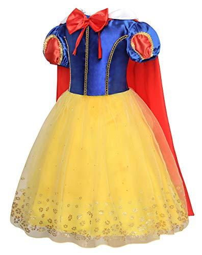 Jurebecia Prinzessin Schneewittchen Kostüm Dress up für Mädchen Kinder Kurzarm Geburtstagsparty Halloween Abendferien Cosplay Kostüm Kind Gelb