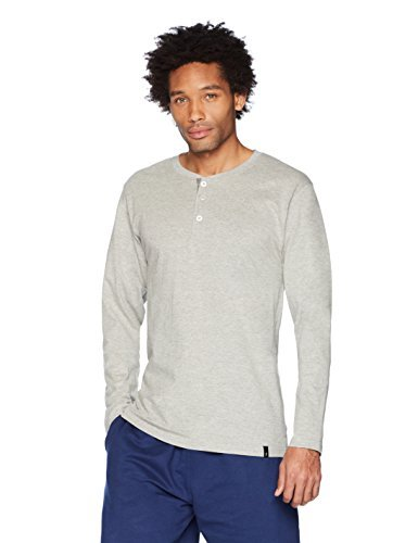 Flying Ace Men's Jersey Henley Long Sleeve T-Shirt Large Grey Heather