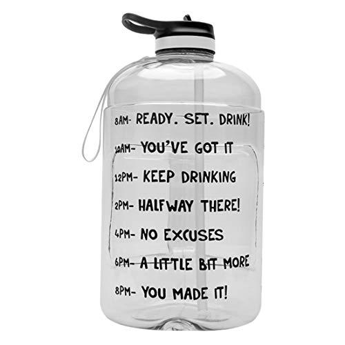 N/F Bottiglia Sportiva Portatile, Bottiglia Sportiva da 1 gallone con Cannuccia, Bottiglia Sportiva Portatile Multicolore per Campeggio all'aperto (Colore Trasparente)