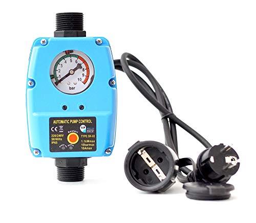 Pumpensteuerung SK-02 Druckwächter für Pumpe Gartenpumpe Hauswasserwerk mit integrierten Trockenlaufschutz und Kabel (2x) - 10 bar