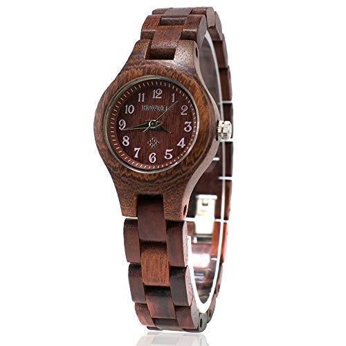BEWELL Handgemachte Natürliche Hölzerne Uhren Für Damen Mode Uhr Analog Quarzwerk Armbanduhr Casual Stil für Frauen mit Hölzerne Armband(Rot)