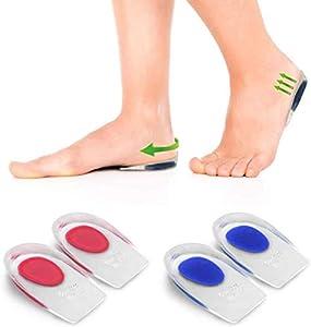 kuou - 2 pares de almohadillas de gel para elevar zapatos, almohadillas de elevación de elevador, 1,7 cm de inserción en talón, plantilla de gel para talón