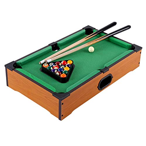 Lseqow Table Top Game, Miniature Billiard Pool Game Set, Wooden Mini Table Top Billiards, Billiard Table Toys for Children, with Pool Table and Cues, Family Games, 20 inches