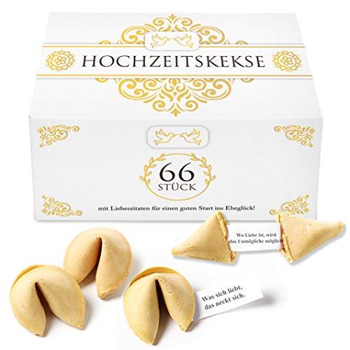 TILLMANN'S Glückskekse Hochzeit – 66 einzeln verpackte Glückskekse mit Deutschen Liebeszitaten in Einer Box – Gastgeschenke für die Hochzeit
