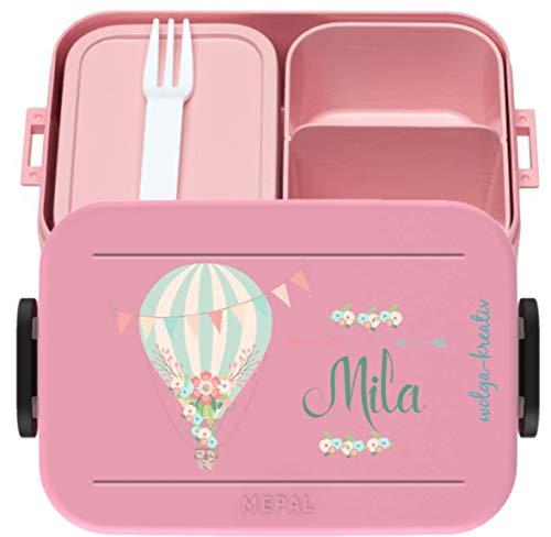 wolga-kreativ Brotdose Lunchbox Bento Box Kinder Heißluftballon mit Namen Rosti Mepal Obsteinsatz für Mädchen Jungen personalisiert Brotbüchse Brotdosen Kindergarten Schule Schultüte füllen