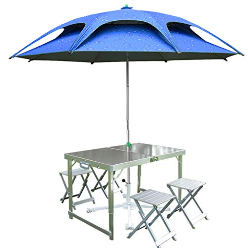 AFEO Outdoor-Set Tisch Hocker Tragbarer Reiseurlaubstisch Camping Tisch Klapptisch Esstische Hubtisch Terrasse Seeufer Strand Garten Grilltisch Mit Regenschirm Kaffetisch