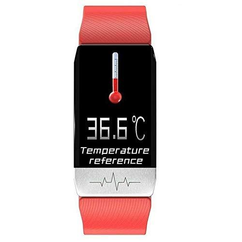 jiawangwang Smart Watch Fitness Trackers con Monitor de frecuencia cardíaca, Impermeable IP67 Fitness Watch, 1.1'Reloj Inteligente con Pantalla táctil para Hombres, Mujeres, Android e iOS (Rojo)