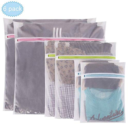 UOON Mesh Laundry Bags - Pack of 6 (2 Extra Large, 2 Large & 2 Medium Essentials Reuse Durable Washing Machine Bag for Delicates Blouse,Hosiery,Underwear,Bra,Lingerie Baby clothes