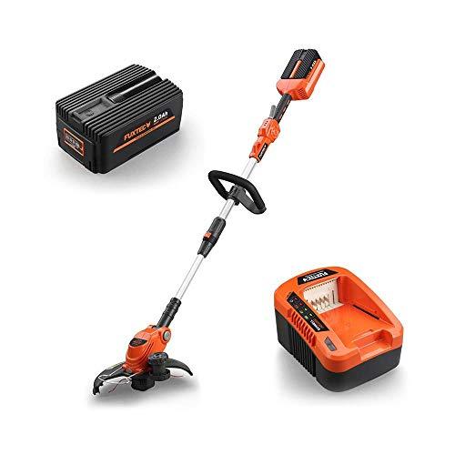 Fuxtec Akku Rasentrimmer E312D 40V Lithium li Batterie von Samsung Geräte wie Motorsense Freischneider/Trimmer, Set mit Akku 2.0Ah/EP20 und Ladestation EC20 für maximale Mobilität