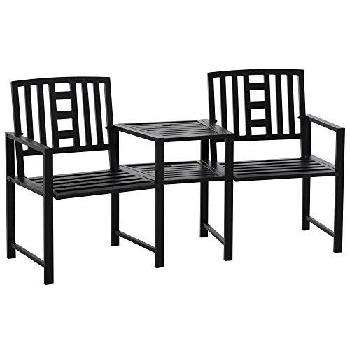 Outsunny Sedie da Giardino in Metallo Nero, Set Tavolino e Sedie da Giardino ed Esterno con Foro per Ombrellone 165x53.5x85.5cm