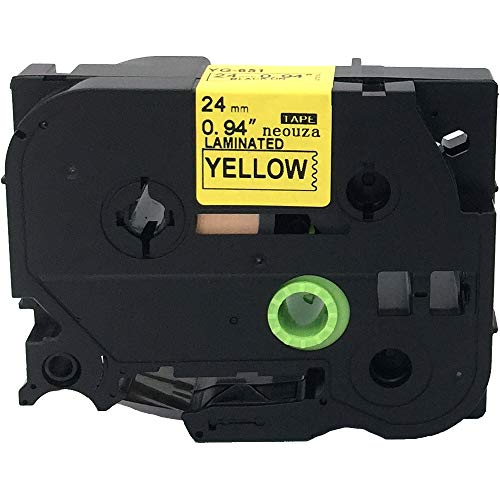 NEOUZA Compatible Label Tape Replacement for Brother P-Touch TZ TZe 651 TZ-651 TZe-651 24mm 8m Black on Yellow