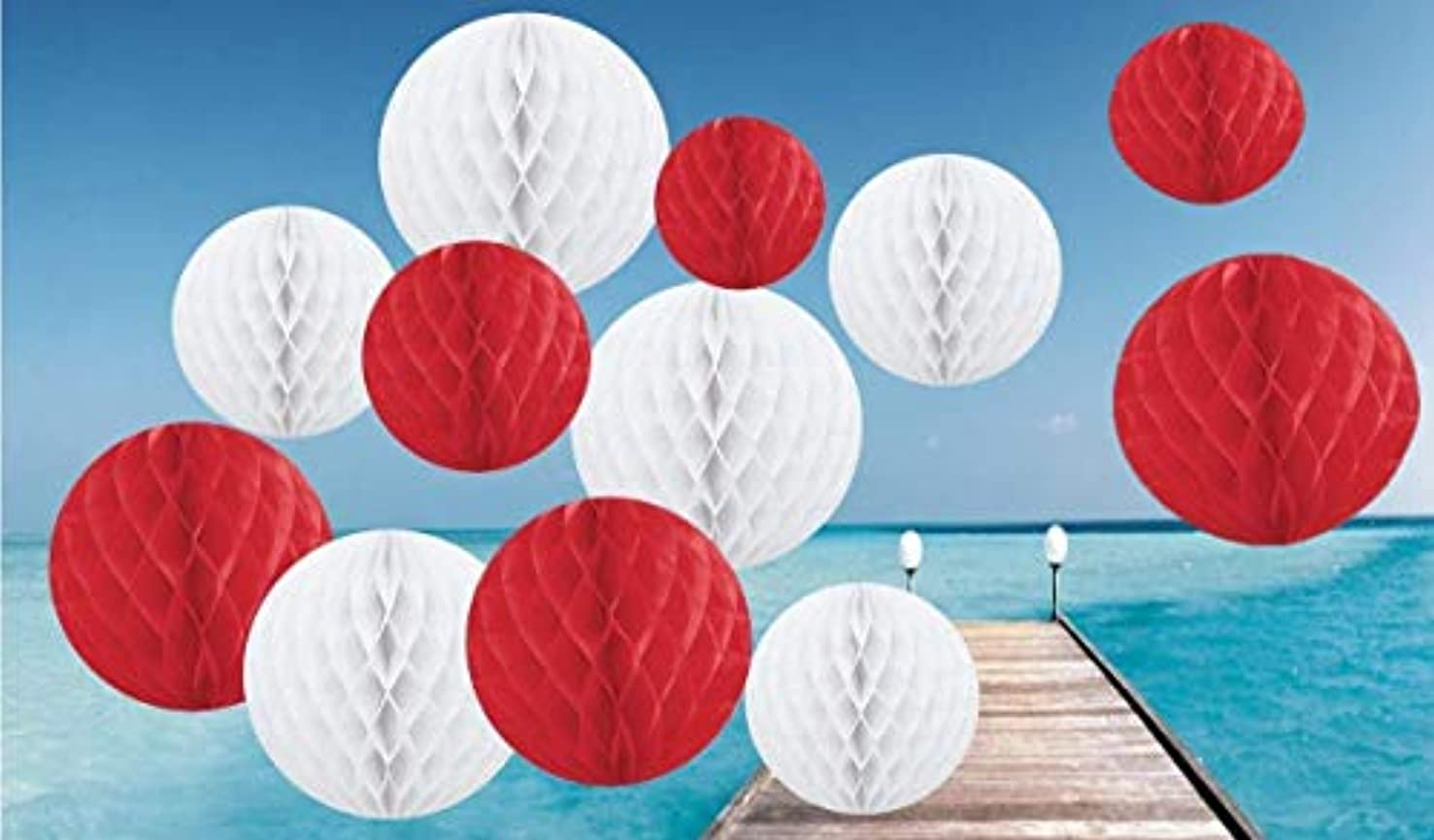 Pack of 12 Valentine Shade Paper Honeycomb Balls Party Paper Decoration (Mix of 6