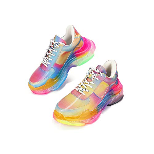 Cape Robbin Presents MDT Cyber Sneakers for Women, Wedge Fashion Sneaker Shoes for Women with Chunky Block Heels - Rainbow Size 9