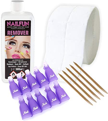 REMOVER Komplett-Set zum entfernen von Gellack, Shellack, Nagellack, Soak-Off, Gel-Polish, Easy-Off-Gel, Acrylmasse und Tips