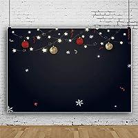 Qinunipoto 2.5mx1.8m 背景布 クリスマス メリークリスマス ランタン スター 子供写真 大人写真 ビデオ ライブ 背景 Youtube クリスマスパーティーの装飾