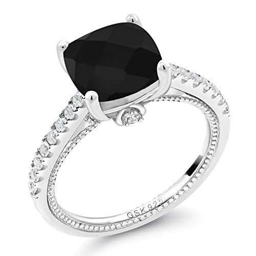 Gem Stone King 925 Sterling Silver Black Onyx and White Created Sapphire Women's Engagement Ring (4.07 Ct Cushion Checkerboard Cut 10MM) (Size 6)