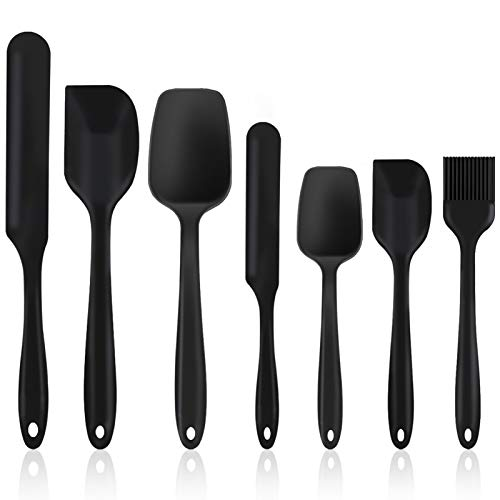 Homikit Silicone Spatula, 7 Piece Heat Resistant & Non Stick Spatulas for Cooking Baking Icing Mixing, Rubber Kitchen Utensil Set Baking Tools with Seamless Design, Non-Toxic & Dishwasher Safe(Black)