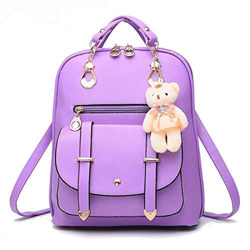 SFBBBO backpack Style Ladies Backpack Pu Leather School Bag Girly Female Rucksack Shoulder Bag Travel Backpack 26x13x31cm lightpurple