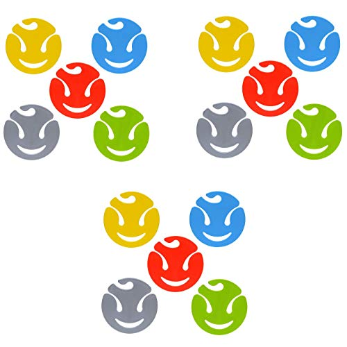 15 Soxy Sockenklammern Sockenclips Sockenhalter aus Kunststoff Gelb Grün Rot Blau & Anthrazit