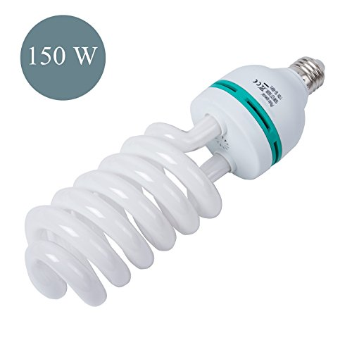 150W Photography Compact Fluorescent CFL Daylight Balanced Bulb with 5500K Color Temperature for Photography amp Video Studio Lighting
