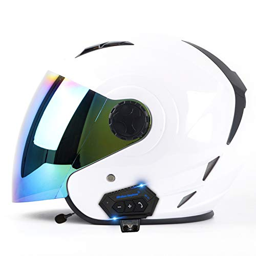 ZLYJ Casco Jet Bluetooth per Moto Open Face 3/4, Casco Jet Vintage Adulto Unisex, Mezzo Casco Crash retrò con Doppia Visiera, Certificato ECE H,S(55-56cm)