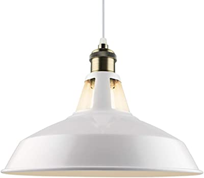 L.HPT Lámparas de Techo de Metal Lámparas de Techo Vintage Lámpara Colgante Industrial Iluminación de Techo Pantalla para Loft Coffee Bar Cocina, Diámetro 27 cm,White: Amazon.es: Hogar