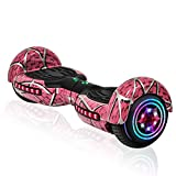 Electric Hoverboard with Built-in Speaker Motor and LED Side Lights Wheels self Balancing Scooter Dual Scooter Hover Board (Pink)