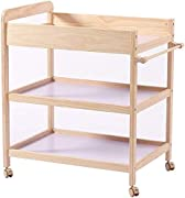 CWJ Small Bed for Look After Baby Without Bending Over  Baby Changing Table Dresser Nursing Station with Casters Portable Bath Organizer for Infant Moving Wood Save Space Storage Desk 80X58X95Cm