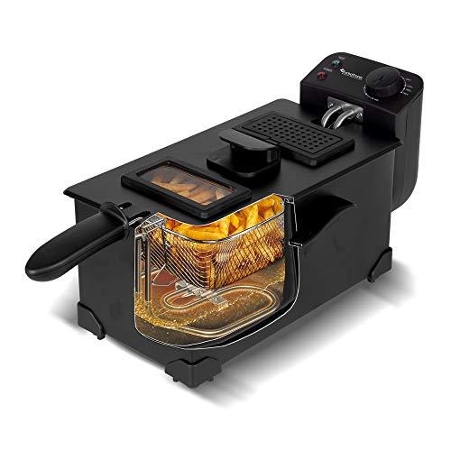 Freidora de zona fría / 3L / contenedor de aceite extraíble (apto para lavavajillas) / temperatura: 0-190°C / negro