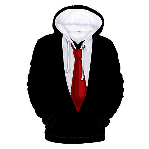 SALEBLOUSE Männer 3D Hooded Hoodies Teens Langarm gefälschte Zweiteilige Tops Sweatshirts Pullover Herren Casual Fashion Sale Clearance Blusen Blazer mit Kangaroo Pockets Plus Size