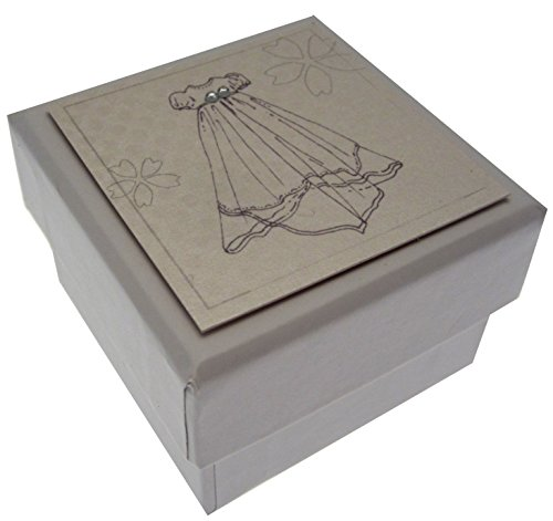 Wit Katoen Kaarten Zilveren Jurk Favor, Effen Doos 5,5 cm x 2,5 cm (doop/doop/bevestiging/communie)