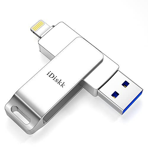 iDiskk MFi-zertifizierter 128 GB Lightning Photo Stick für iPhone iPad Speicher Flash-Laufwerk für iPhone 12/11 / X/XS/XR / 5/6/7/8 iPad Mac und Computer USB Memory Stick für iPhone