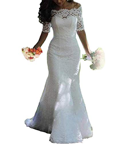 Alanre Women's Off The Shoulder Lace Wedding Dress Half Sleeve Bride Gown Mermaid Ivory 2