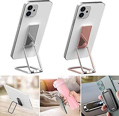YHBD Soporte magnético retráctil para teléfono móvil, soporte de anillo de 360 ° de rotación plegable de metal, para soporte magnético de coche y teléfonos inteligentes Tablets. (plata+oro rosa)