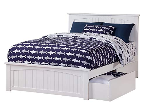 Atlantic Furniture Nantucket Platform Bed with Matching Foot Board and 2 Urban Bed Drawers, Full, White