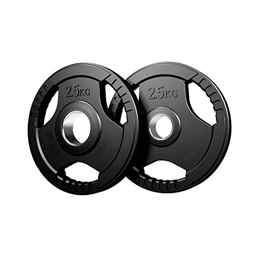 PIAOLING Rubber Coated Olympic Plates Tri-Grip Barbell Weights Plates for Strength Training, Weightlifting and Crossfit (Color : 2.5KG/5lb2, Size : 51mm Center)
