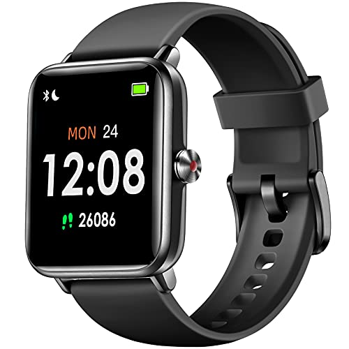 """Hamile Smart Watch for Android Phones Compatible with iPhone, Fitness Watch with Heart Rate Monitor, Blood Oxygen Saturation, 1.55"""" Touch Screen, 5ATM Waterproof Smart Watches for Women & Men, Black"""