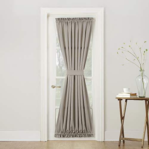 Sun Zero Barrow Energy Efficient Door Panel Curtain with Tie Back, 54' x 72', Stone