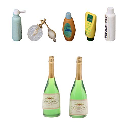 freneci 7 X Botellas 1/12 Casa de Muñecas Vino Cerveza Bar Bebida + Perfume Champú Gel de Baño