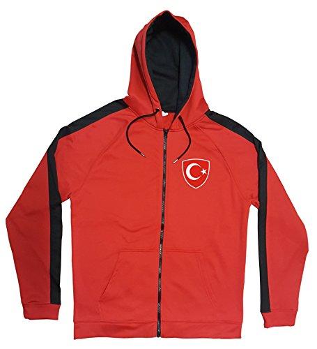 Türkei Jacke Sweater Rot JA GO Türkiye Trikot Look Zip Nation Fussball Sport (M)