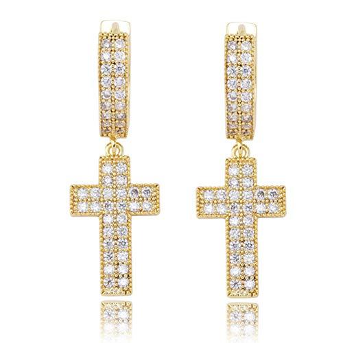 Cubic Zirconia Bling Iced Cross Earring Gold Silver Color Copper Material Earrings for Men Women Hip Hop Rock Jewelry