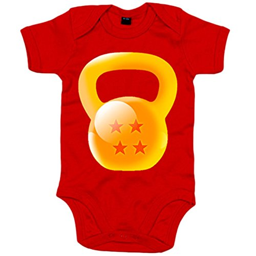 Body bebé Crossfit kettlebell parodia bola de dragon - Rojo, 6-12 meses