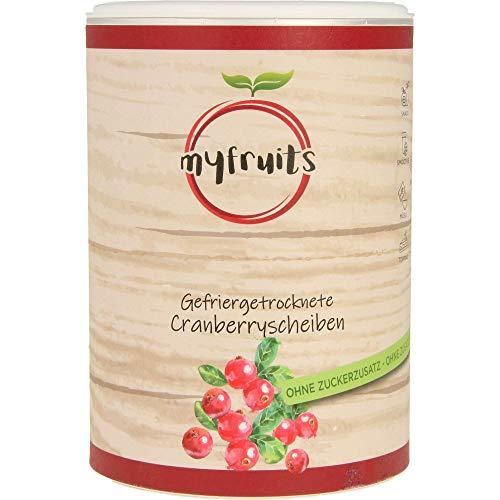 myfruits® Cranberryscheiben - gefriergetrocknet - ohne Zusätze, zu 100% aus Cranberries, Zutat für Müsli oder Porridge (1er Pack)