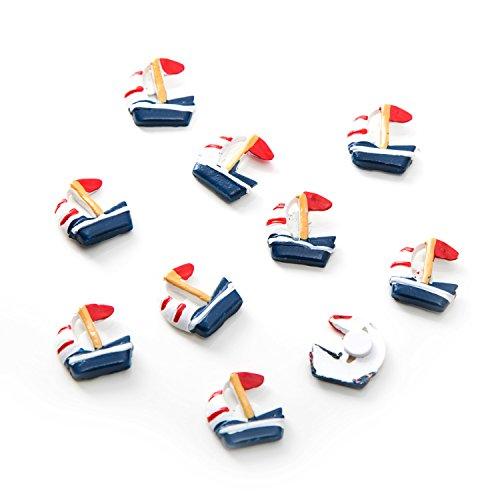 Lot de 20 petits bateaux à voile avec point adhésif en bleu, rouge et blanc - Décoration de table maritime.