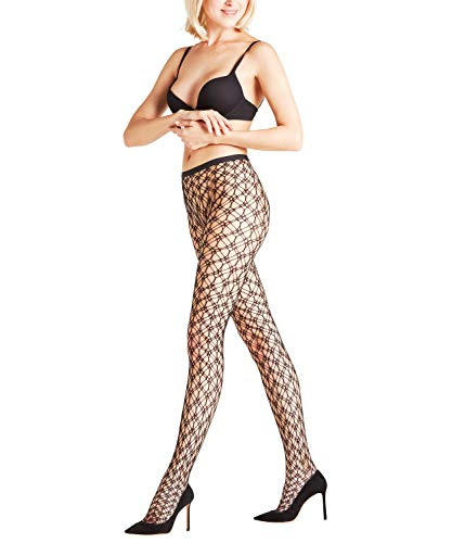 Falke Blackout Panty voor dames, wolmix, 1 stuks, verf. Kleuren: zwart, rood, maat S-L - winterse net-panty, grof mesh patroon