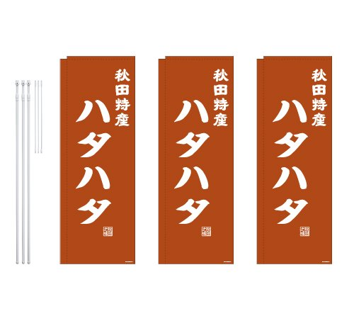 デザインのぼりショップ のぼり旗 3本セット ハタハタ 専用ポール付 レギュラーサイズ(600×1800)袋縫い加工 BAK409F