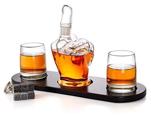 SYZHIWUJIA Set di Decanter di Whisky a Forma di Dito Medio 2 Bicchieri di Liquido, Regalo da Uomo Che Raffreddano Pietre di Whisky e Imbuto per Rum, Scotch, Bourbon, Whisky Decanter