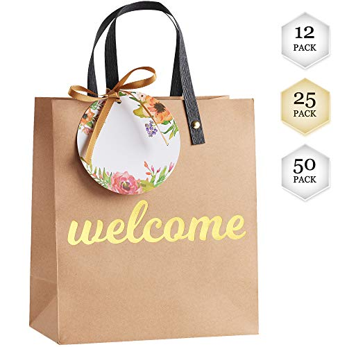 Welcome Bags for Wedding Guests - High Quality Kraft Paper Bags Bulk Perfect as Wedding Welcome Bags for Hotel Guests - Excellent to Present Wedding Favors for Guests with Free Tags and Ribbons