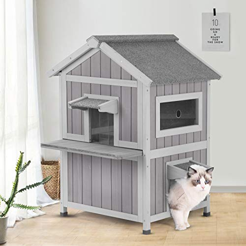 GUTINNEEN Outdoor Cat House Indoor Shelter with Escape Door, Weatherproof Elevated Feral Kitty House,Air Circulation
