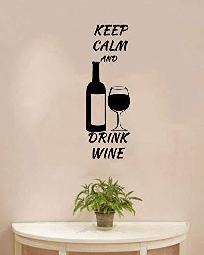 Blijf kalm en drink wijn muursticker